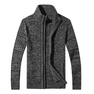 Outlet Appeal Dark Grey / M / China Men's Slim Fit Zipper Cardigan Sweater