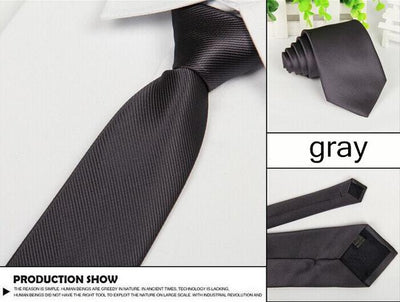 Outlet Appeal Dark Grey Solid 8cm slim ties men necktie Fashion Man Accessories For Party Business Formal lot