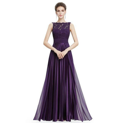 Outlet Appeal Dark Purple / 4 / China Evening Dresses Gorgeous Formal Round Neck Lace Long Sexy Red Women Party