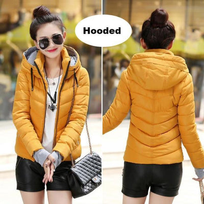 Outlet Appeal Dark yellow 1 / M Winter Jacket Women's Plus Size Womens Parkas Thicken Outerwear solid hooded Coats Short Female Slim Cotton padded basic tops