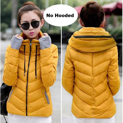 Outlet Appeal Dark yellow / M Winter Jacket Women's Plus Size Womens Parkas Thicken Outerwear solid hooded Coats Short Female Slim Cotton padded basic tops