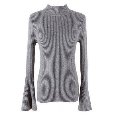 Outlet Appeal DarkGray Pullover Sweater Women Turtleneck Knitted Tops Female Knitwear Flare Sleeve Pull Jersey