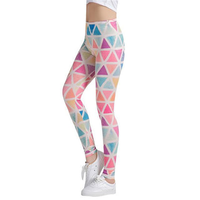 Outlet Appeal DDK251 / One Size Colorful Traingles Printed Women Leggings Sexy Female Leggings  Mujer Pants Fitness High Elastic Bodybuilding Trouser WAIBO BEAR