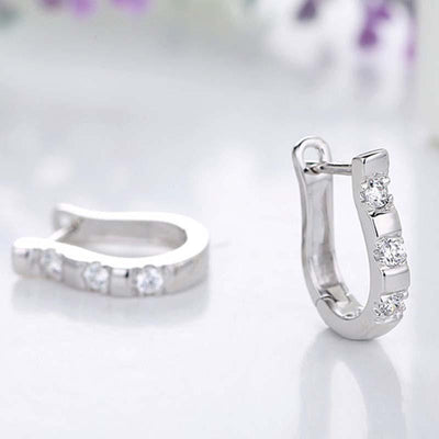 Outlet Appeal Default Title 1Pair Fashion Silvering Nice White Gemstones Women&#39s Hoop Earrings