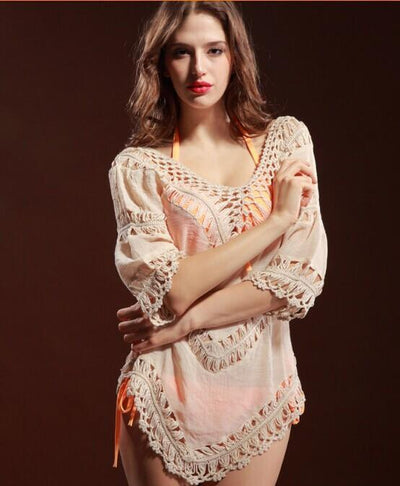 Outlet Appeal Default Title Crochet Breathable Loose Cardigan Sweater with Medium Length Sleeves