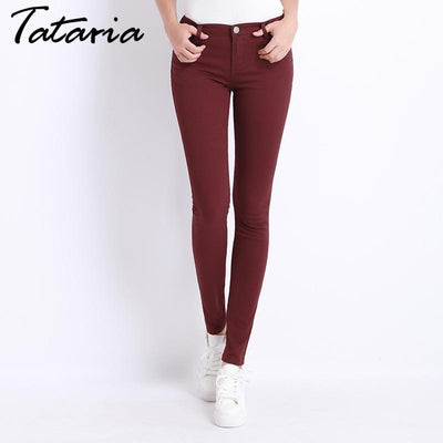 Outlet Appeal Denim Pants Candy Color Womens Jeans Stretch Bottoms Skinny Pants For Women Trousers