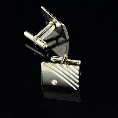 Outlet Appeal Diamond Tie Clip Cufflinks Suit Lapel Mens Wedding Gift Cuff Link Set
