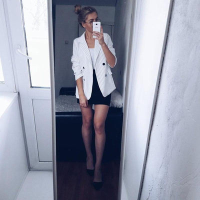 Outlet Appeal Double Breasted Striped Blazer Jacket & Trouser Two Piece Pant Suit Set
