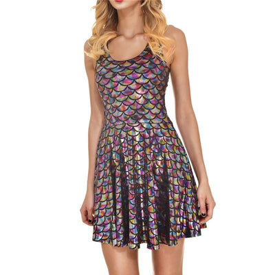 Outlet Appeal dress Color / S Women's Shiny Mermaid Sleeveless Short Tank Dresses