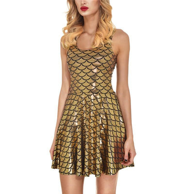 Outlet Appeal dress Gold color / S Women's Shiny Mermaid Sleeveless Short Tank Dresses