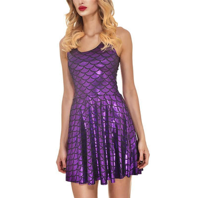 Outlet Appeal dress Purple red / S Women's Shiny Mermaid Sleeveless Short Tank Dresses