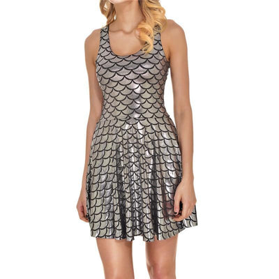 Outlet Appeal dress Silver color / S Women's Shiny Mermaid Sleeveless Short Tank Dresses