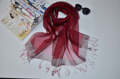 Outlet Appeal Dull Red Stylish Sunscreen Scarves Silk Sun Block Shawl Scarf for Air Condition Room