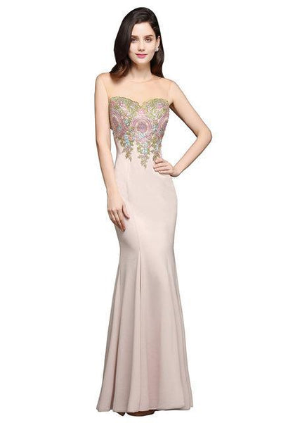 Outlet Appeal dusty pink / 2 Sheer Back Lace Mermaid Evening Dress Long Chiffon Evening Gown