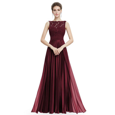 Outlet Appeal Evening Dresses Gorgeous Formal Round Neck Lace Long Sexy Red Women Party