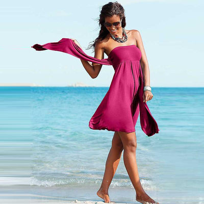 Outlet Appeal Fashion Summer Sleeveless Low cut Backless Halter neck Mini Beach Dress Wear Skirt