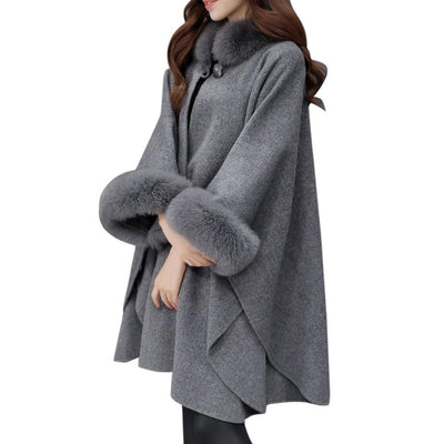 Outlet Appeal Fashion Women Jacket Casual Woollen Outwear Fur Collar Parka Cardigan Cloak Coat