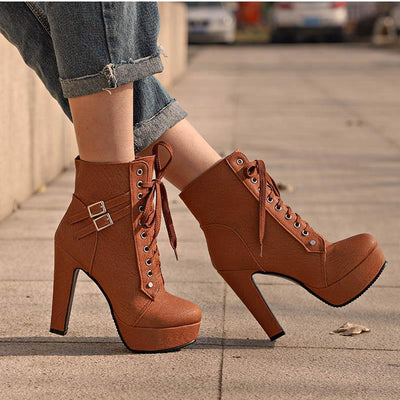 Outlet Appeal Faux Leather or Suede Lace Up Double Buckle Platform High Heel Ankle Boots