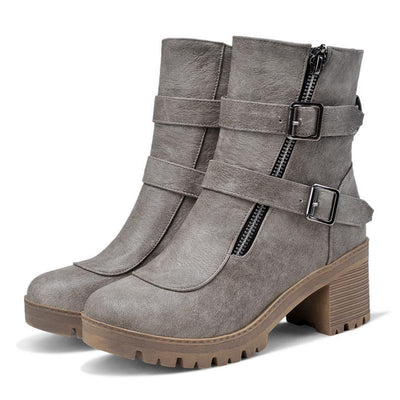 Outlet Appeal Faux Leather Winter Metal Buckle Thick High Heel Zipper Ankle Boots