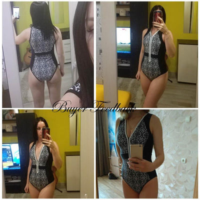 Outlet Appeal Floral or Geometric Pattern Zip-up One Piece Monokini Swimsuit