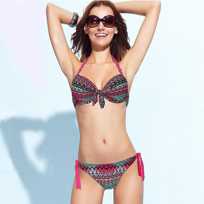 Outlet Appeal Floral Print Brazilian Push Up Halter Bikini Swimsuit Set - Small-XXL - 14 Colors/Patterns