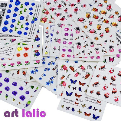 Outlet Appeal Flowers Water Transfer Nail Art Stickers DIY  - 50 Sheets Mixed Designs