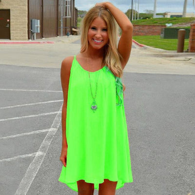 Outlet Appeal Fluorescence green / S Fluorescent and Matte Color Chiffon Beach Dress - 8 Colors - Small-XXL