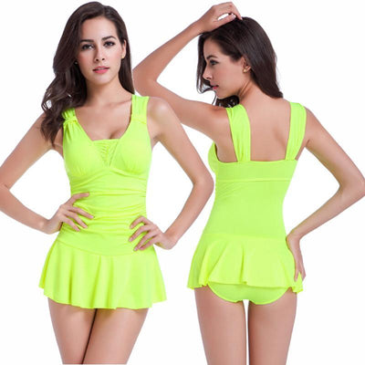 Outlet Appeal Fluorescent Yellow / XL Sexy One Piece Swimsuit Ruched V Neck for Women