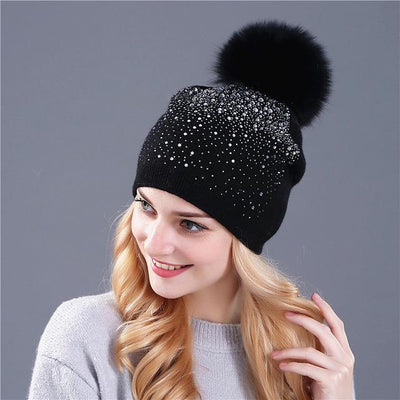 Outlet Appeal fox black [Xthree] women winter beanie hat Rabbit fur wool knitted hat the female of the mink pom pom Shining Rhinestone hats for women