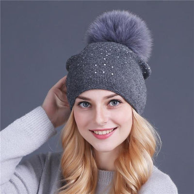 Outlet Appeal fox gary [Xthree] women winter beanie hat Rabbit fur wool knitted hat the female of the mink pom pom Shining Rhinestone hats for women