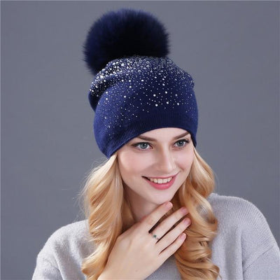 Outlet Appeal fox navy [Xthree] women winter beanie hat Rabbit fur wool knitted hat the female of the mink pom pom Shining Rhinestone hats for women
