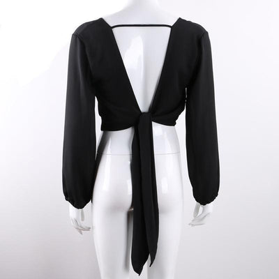 Outlet Appeal Full Sleeve V Neck Backless Tie Short Chiffon Blouse