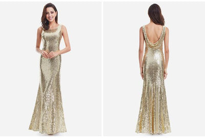 Outlet Appeal Gold / 4 / China Sparkle Sequin Mermaid Long V-Neck Evening Dress Party Gown