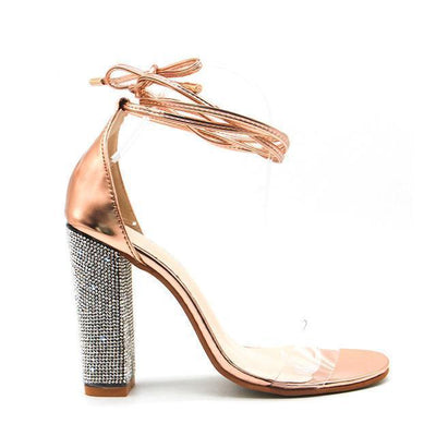 Outlet Appeal Gold / 5.5 / China Ankle Strap Super High Square Heel Rhinestone Sandals