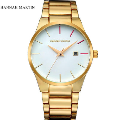 Outlet Appeal Gold Men Fashion Military Stainless Steel Analog Date Sport Quartz Wrist Watch