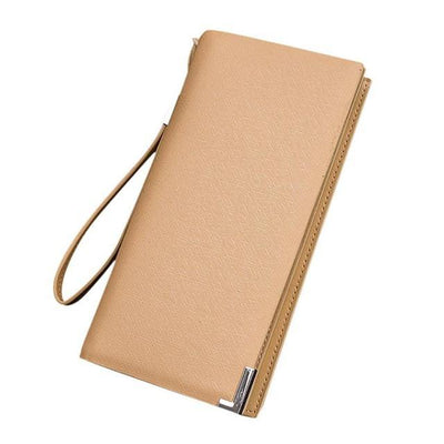 Outlet Appeal Gold Synthetic Leather mens wallets and purses multifunction long wallet men Bi-Fold flip wallet