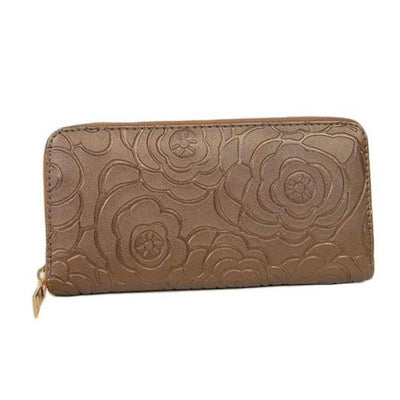 Outlet Appeal Gold Women's Rose Embossed Long Wallet Business Zipper Faux Leather Clutch Wallet