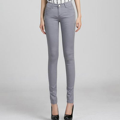 Outlet Appeal Gray / 25 Denim Pants Candy Color Womens Jeans Stretch Bottoms Skinny Pants For Women Trousers