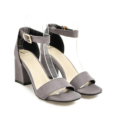 Outlet Appeal Gray / 4 Ankle Wrap Chunky High Heel Shoes Sandals Black Beige Red