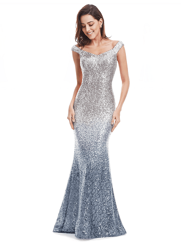Outlet Appeal Gray / 4 / China Sparkle Sequin Mermaid Long V-Neck Evening Dress Party Gown
