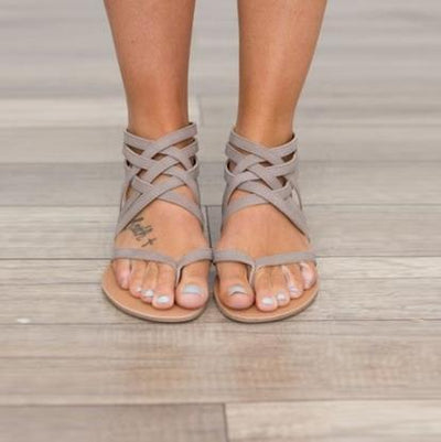 Outlet Appeal gray / 4 Flats Sandals European Rome Gladiator Style