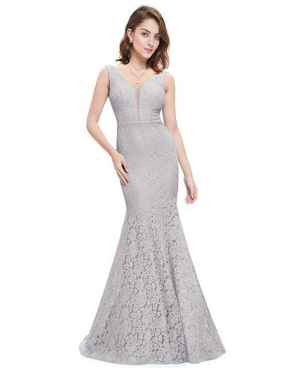 Outlet Appeal Gray / 4 Lace Mermaid Prom Dresses Long Ever Pretty Small Train Trumpet V-Neck Elegant