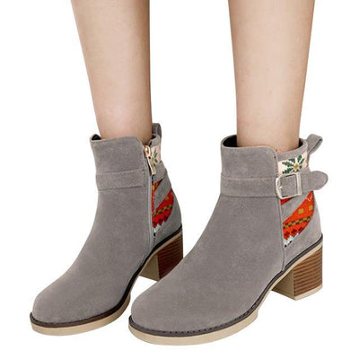 Outlet Appeal gray / 6 HEE GRAND Women Ankle Boots Suede High Heels Flock Round toe 3 Colors Size 35-43 XWX6407