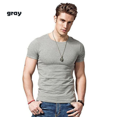 Outlet Appeal Gray / Asian L Covrlge Men T-shirts Solid Color Slim Fit Short Sleeve T Shirt Mens O-neck Tops TShirt