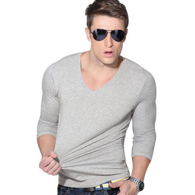 Outlet Appeal Gray / Asian L Solid Long Sleeve Slim V-neck T-shirt