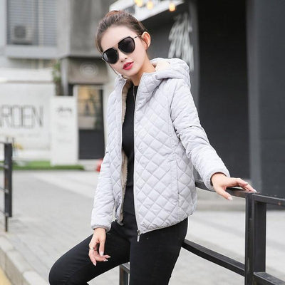 Outlet Appeal Gray Color / S Autumn 2018 New Parkas basic jackets Female Women Winter plus velvet lamb hooded Coats Cotton Winter Jacket Womens Outwear coat