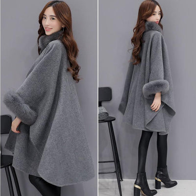 Outlet Appeal Gray / L Fashion Women Jacket Casual Woollen Outwear Fur Collar Parka Cardigan Cloak Coat