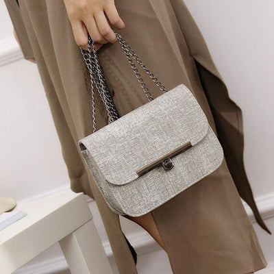 Outlet Appeal Gray Ladies Shoulder Messenger Bag Fashion Women Leather Chain Handbag Cross Body Bag