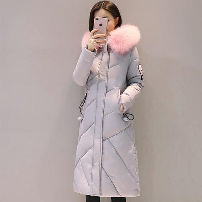 Outlet Appeal GRAY / M Fur Collar Long Winter Coat