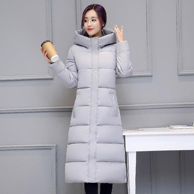 Outlet Appeal GRAY / M High quality 2018 stand collar coat women winter long hooded with a hat warm thicken womens jacket solid padded female parka